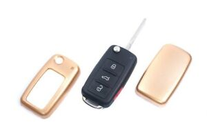 For VW SEAT SKODA Remote Flip Key Cover Case Skin Shell Cap Fob Protection Gold