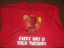 "Deadpool ""Every Day Is Taco Tuesday"" Official T-Shirt Men's XL Extra Large Red"