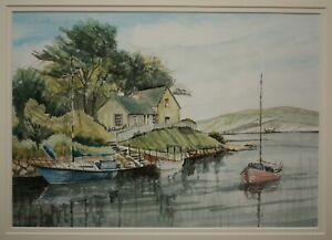 Original Scottish Watercolour Painting RIVER ALMOND CRAMOND, EDINBURGH, SCOTLAND