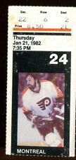 Ticket Hockey Philadelphia Flyers 1982 1/21 Montreal Canadiens