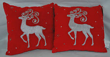 St Nicholas Square Silver Reindeer Applique Sequin Beaded Christmas Pillows NWT