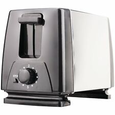 2 Slice Bread Bagels Buns Toaster 7 Setting Browning Knob Stainless Steel Black
