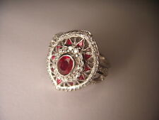 Magnificent Antique Estate 14K White Gold Ruby Diamond Mosaic Ring