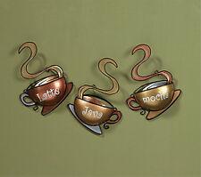 Wall Coffee Cup Set Metal Kitchen Art Home Decor 3 Metallic Hanging Mug House