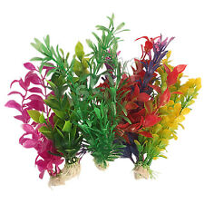 6pcs Aquarium Plastic Plants Tropical Artificial Fish Tank Aquatic Grass UK