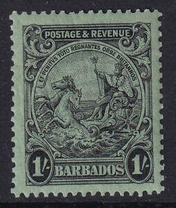 Barbados 1932 1s Black-Emerald SG237a P. 13 x 12 V.F MNH