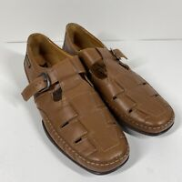 Mephisto Brown Leather Fisherman Buckle Sandals Cut Out Strap Mens Size 12