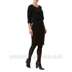 Phase Eight Delta Double Layer Black Shift Sleeve Dress UK 12 EU 40 US 8