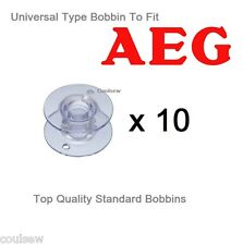 UNIVERSAL PLASTIC BOBBINS X 10 IN PACKET COMPATIBLE WITH AEG SEWING MACHINES