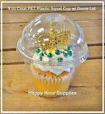 10-pack TAKE n' GO 9 oz Plastic Snack, Cupcake, Parfait Squat Cup w/ Dome Lid