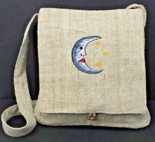 Hemp Purse Moon and Stars Embroidered Hippie Crossbody Shoulder Bag Eco Friendly