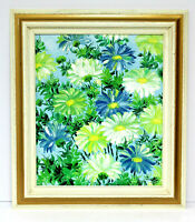 Blue & White Gerber Daisies  20 x 24 Oil Painting on Canvas w/ Custom Frame