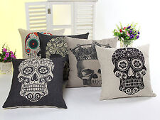 5 PCS Mexican Day of the Dead Sugar Skull Linen Pillow Case Cushion Cover Y5KD1