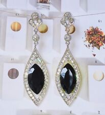 Rhodium Plated Black Crystal Rhinestone Water Drop Wedding Earring