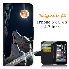Apple iPhone 6 6S 4.7inch Wallet Flip Phone Case Cover Wolf Clouds Y00768
