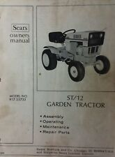 Sears Suburban ST/12 Lawn Garden Tractor Owner & Parts Manual 917.25733 HH120 SS