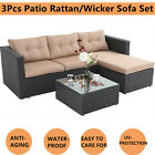 3Pcs Outdoor Patio Sofa Set PE Rattan Wicker Sectional Furniture Couch W/Cushion