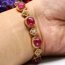 "NATURAL 9 X 10 mm. RED RUBY, PINK TOPAZ & WHITE CZ BRACELET 9"" 925 SILVER"