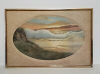 William Hoffman Lithograph Print Painting Waves by The Beach Signed