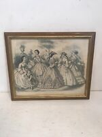 1862 Godey's Fashion Hand Colored Plate Etching Capewell & Kimmel July Framed