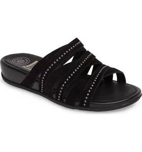 FitFlop Lumy Wedge Slide Sandal, Black Suede, Women's Size 6, $130