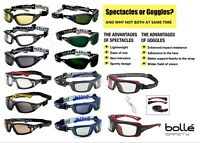 '2 in 1' Bolle Safety Glasses Spectacles & Goggles RUSH TRACKER BAXTER ULTIM8