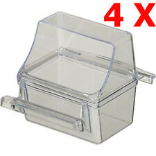 Lot of 4 Bird Transparent Clear Seed Food Water Feeder Feeding Cups - 240
