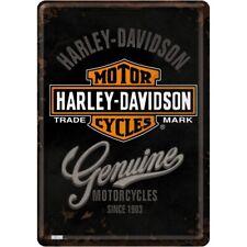 Harley Davidson Genuine Motorcycles Embossed Garage Man Cave Wall Sign 20x15cm