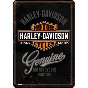 Harley Davidson Genuine Motorcycles Embossed Garage Man Cave Wall Sign 20x15cm