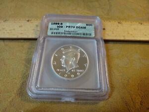 1999-S US Kennedy Silver Proof Half Dollar 50c Graded ICG PR70 DCAM