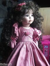 excellent handmade porcelain doll long curly soft hair signed rare 9/00 145/1000