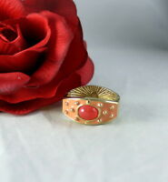 Gorgeous Joan Rivers Coral Salmon Gold tone Scarf Slide CAT RESCUE