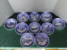 Ten (10) Royal Copenhagen Denmark Christmas Annual Collector Plates 1990 - 1999