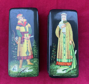 Pair Russian Lacquer Boxes, Hand Painted & Signed Frog Prince Ivan and Princess