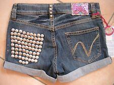 (H747) Nolita Pocket Girls used look Jeans Hose Hot Pants mit Stahlnieten gr.140