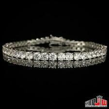 "14k Finish .925 Silver 1 Row Simulated Diamond Bracelet Mens Tennis Iced 4mm 8"""