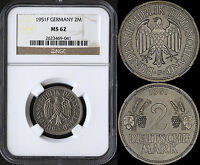 GERMANY 2 MARK 1951-F (NGC MS62) *PREMIUM QUALITY*