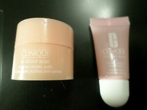 CLINIQUE ALL ABOUT EYES CREAM REDUCES CIRCLES PUFFS + MOISTURE SURGE LIP NWOB