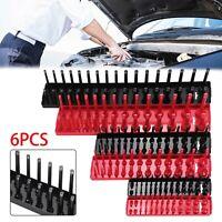 6pcs Storage Socket Stand Rail Tray Rack Holder Sockets 1/4 3/8 1/2 Inch Drive