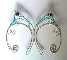 Handmade Seafoam Green & Silver Plated Hematite Elf Ear Cuffs, Fantasy Earrings