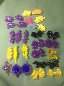 VINTAGE 80/90s Snap Tight Plastic Hair Clip Barrettes/Bows LOT of 30 Flowers