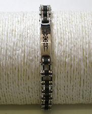 Bracelet ,Gourmette    chaîne moto et triba ,acier 21 cm ,bikers,motards, db1139