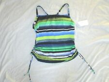 NEW! JAG $84 size 34D/DD swimsuit bathing blue white green top 3 way straps