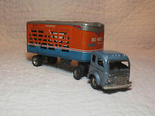 Vintage Tin 1950's Friction Alps Hi-Way Cattle Transport Cab Trailer Semi Truck