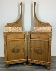 Rare Carved French Antique Bedside Tables Cupboards Cabinets With Marble Tops