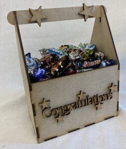 BI12 Congratulations Treat Gift Box. Laser Cut MDF. Craft Tool box. Deco patch
