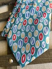 Lord & Taylor Neckwear- Blue, Yellow, and Red Oval Geometric Silk Neck Tie