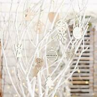 12x Christmas Wooden Pendant Hanging Ornament Xmas Festive Decoration Gift S3G5
