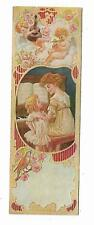 Old Trade Card Bookmark Weaver Piano Co York PA Embossed Cherubs Mother Child