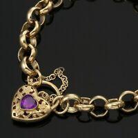 18K Yellow Gold GL CHUNKY Solid Ladies Belcher Bracelet & Amethyst Heart Padlock